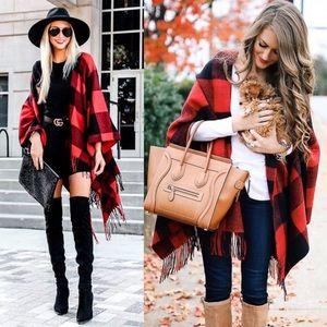 WILA Jackets & Coats - PAULA✨ buffalo plaid poncho tassel red black
